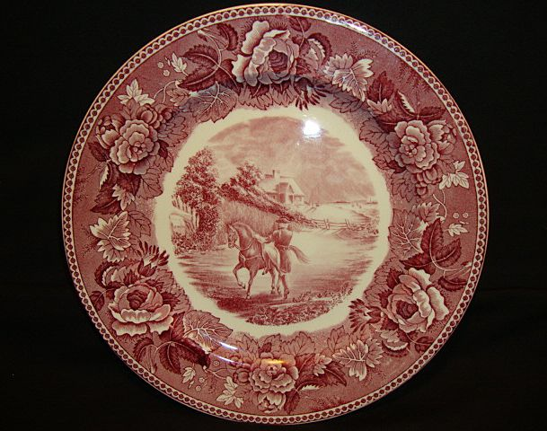 Wedgwood Longfellow Series Paul Revere Cabinet Plate ~ Red & White Transferware ~ Wedgwood Barlaston Stoke-on-Trent England 1895-1910