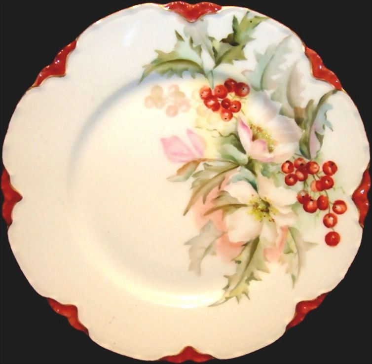 Charming Limoges Porcelain Cabinet Plate ~ White Pink Flowers with Red Holly berries ~ Haviland & Co 1888-1896