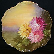 SALE Decorative Limoges Porcelain Cabinet Plate ~ Hand Painted with Pink & Yellow Mums by � Le