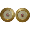 TWO (2) PICKARD Porcelain 10 5/8'' Gold Embossed Cabinet Plates with Floral Design ~ PICKARD Studios Chicago IL 1938 +