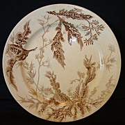 SALE Nice Old Earthenware Plate with Brown Seaweed Transfers ~ Josiah Wedgwood and Sons Staffo