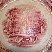 SALE Amazing Old English Ironstone 10� Cabinet Plate ~ Corinthia Pattern ~ Pink / Red Transfer