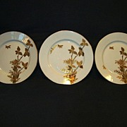 SALE 3 - Fantastic Limoges Porcelain ~  6 �� Cabinet Plates ~ Gold Embossed Foliage and Butter