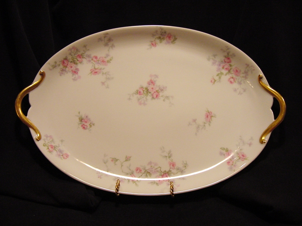 Beautiful Limoges Porcelain 14 1/2'' Two Handled Platter / Tray ~ Pink & Lavender Flowers ~ GDA ~ Gerard Dufraisseix & Abbot Limoges 1900-1941