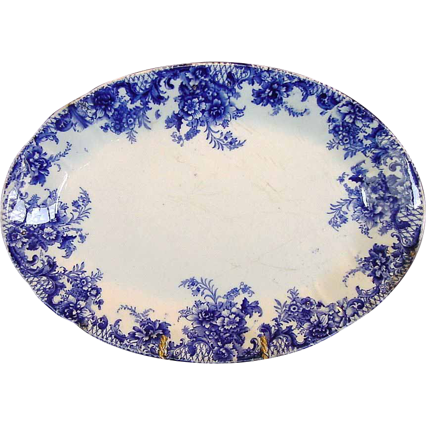 "WONDERFUL Old English Blue and White Platter ""Trellis"" Pattern~ W Adams & Co Tunstall England pre 1891"