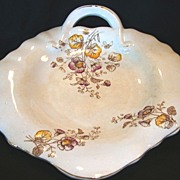 SALE Wonderful Old Ironstone, Handled, Leaf Shape Platter / Tray ~ Flower Transfers ~ Akron Ch