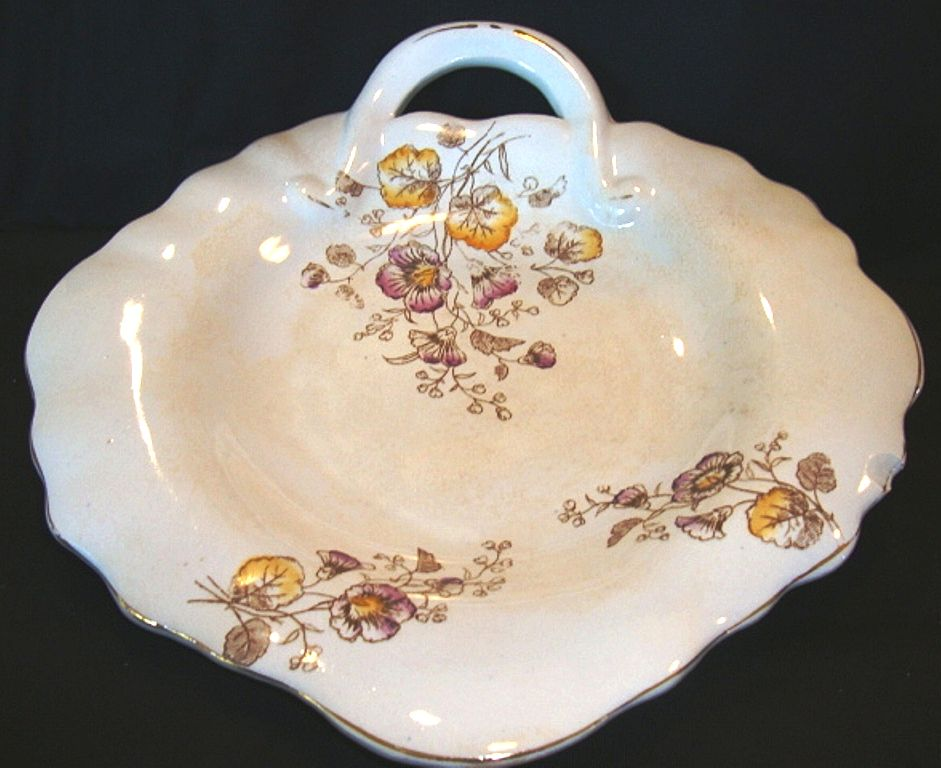 Wonderful Old Ironstone, Handled, Leaf Shape Platter / Tray ~ Flower Transfers ~ Akron China Co 1894-1908
