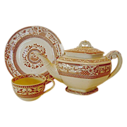 SALE RARE 1880 (3 Piece set + lid) Aesthetic English Teapot, Cup and Saucer � Reddish Brown Tr