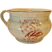 SALE Great Earthenware Chamber Pot ~ Brown Transfer of Birds & Foliage ~ late 1800�s � early 1