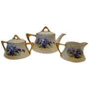 SALE Wonderful Bavarian Tea Set Teapot, Creamer & Sugar ~ Hand painted with Purple Violets ~ Z
