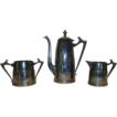 Cute Sheffield Silver Plated ~ Art Deco ~Coffee Pot, Sugar & Creamer Set 1930�s