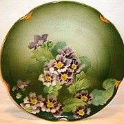 SALE Colorful 11� French Faience Charger ~ Hand Painted with Purple & White Geraniums ~ Keller