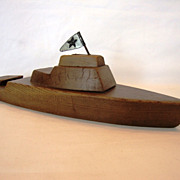 SALE Handmade wooden pond boat with simple tin flag and pull-ring on bow.