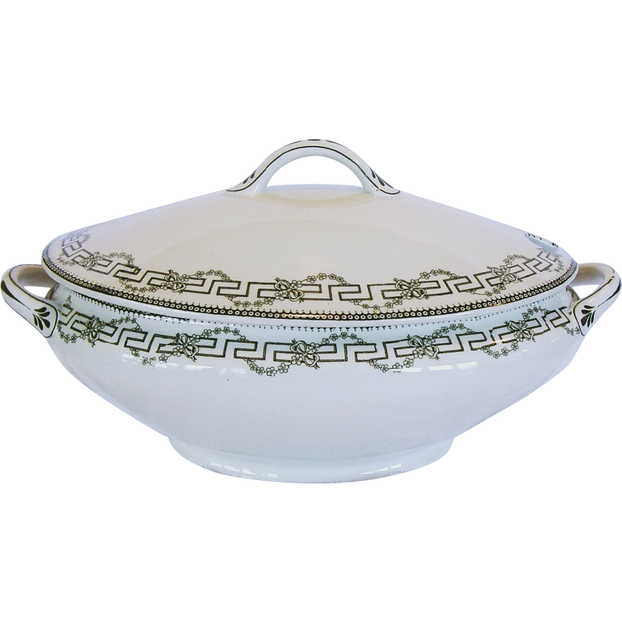 Wonderful Old Ironstone Tureen ~ Decorated with Deep Olive Green Greek Key, Flowers & Vines ~ Florence Pattern ~  Furnivals Limited ~ 1907
