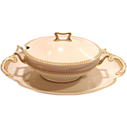 SALE Classic and Elegant Limoges Porcelain Soup Tureen with Large Under Plate / Platter ~ Fact