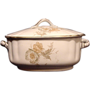 SALE Nice Old Wedgwood Sauce Tureen ~ Decorated with Green, White & Orange Poppy Transfers ~ W