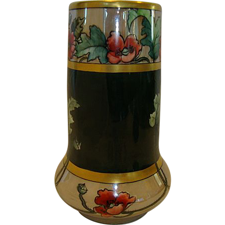 "Awesome Austrian Porcelain Vase ~ 8'' tall and ""chubby"", nice! Hand Painted with Luster & Poppies & Gold ~ Moritz Zdekauer Austria 1884-1910"