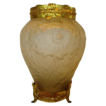 Beautiful Tiffin Glass Chrysanthemums Vase ~ Ormolu Rim and Base ~ Tiffin / US Glass Co. 1920S
