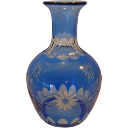 Wonderful Blue Flash cut to clear Crystal Vase / Decanter ~ Floral Design