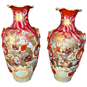 SALE Fantastic Pair of Large Mirror  Image Satsuma Samurai 15 Vases from the Meiji Period 186