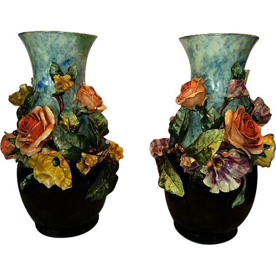 "(2) Large 14""  Barbotine Vases. FMCo (American) ~ Gross relief with Yellow & Salmon Roses, Poppies, foliage. ~ Faience Manufacturing Company, Greenpoint Brooklyn New York 1880-1884"
