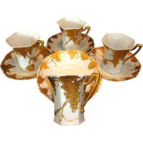 Four (4) Unique Limoges Porcelain CHOCOLATE SET Cups & Saucers ~ Grapes and Vines Hand Painted with Raised Roman Gold ~ Signed `Emma A Strahley' ~ T&V Limoges 1907-1919