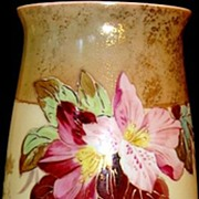 SALE Amazing 12� Bristol Mantel Vase ~ Decorated with Flowers and Gold Gilt ~ England late 180