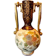 SALE Breathtaking 13� Tall English Earthenware Vase ~ Hand Painted with Chrysanthemums of Pink