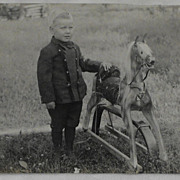 Real Photo Postcard RPPC Little Boy and Toy Horse