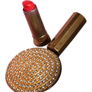 SALE Jeweled Lipstick & Hand Mirror Hinged 1950's