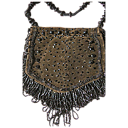 SALE Vintage Purse w/ Glass Beads & Velvet for Chatelaine
