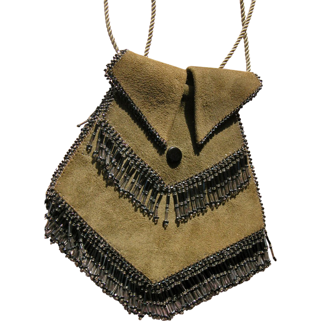 1920's Suede Purse w/ Glass Beads Pristine Condition.