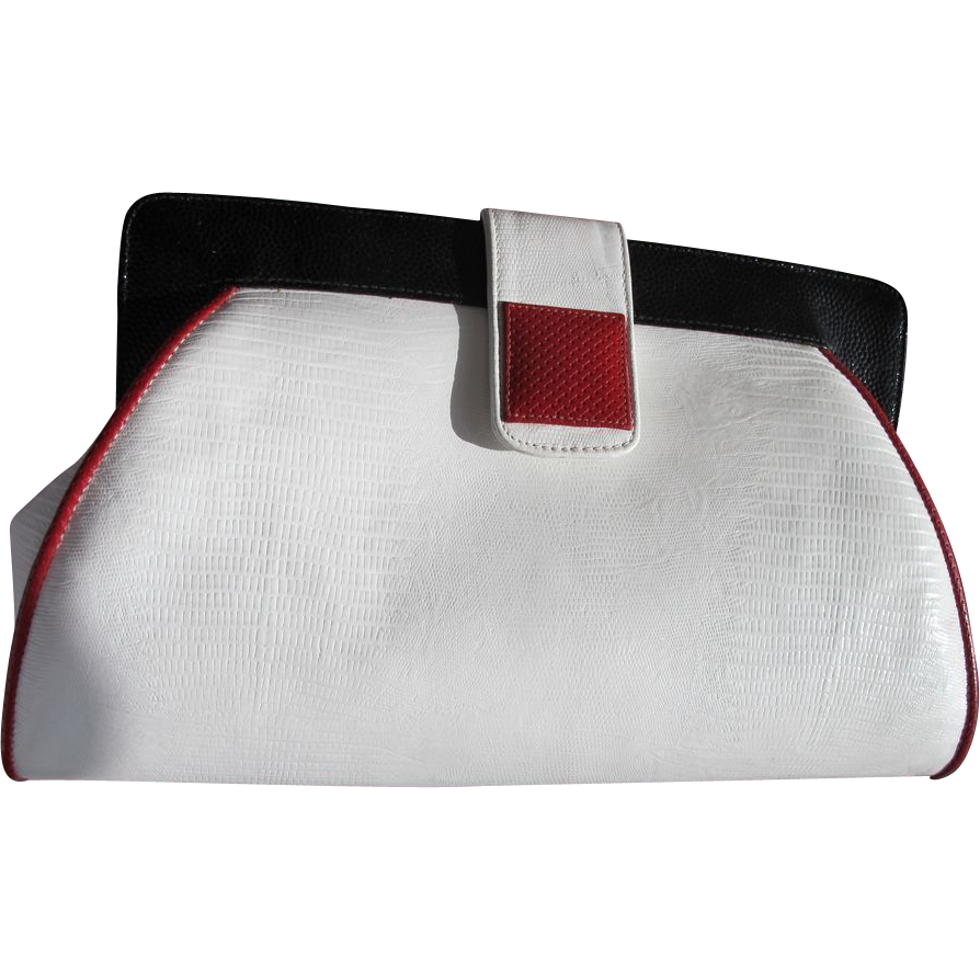 Leather Purse Unused Vintage Designer Red White and Blue Alligator ...
