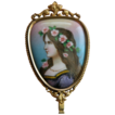 Antique Hand Mirror Enamel - French - Signed