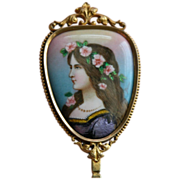 SALE Antique Hand Mirror Enamel - French - Signed