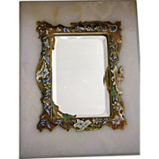 SALE French Mirror - Champleve Enamel Inlay on Marble w/ Stand UP Beveled Mirror
