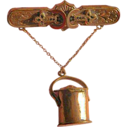 SALE Victorian Vinaigrette Pendant in Pail Shape- Marked - 1881