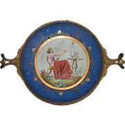 SALE Porcelain Hand Painted Bronze Framed Plate c. 1840