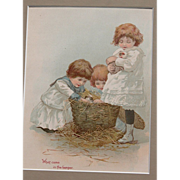 SALE Victorian Lithograph w/ Girls and Guinea Pigs Matted Frame Ready