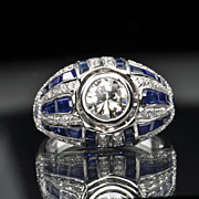 SALE 3.37 Carat Diamond and Sapphire Ring