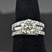 SALE 2.64 Carat Diamond Wedding Set / 2.05 Center