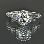SALE 1.31 Carat Old European Cut Diamond Solitaire Ring / 1.13 Center
