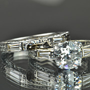 SALE 1.97 Carat Wedding Set / 1.37 Old European Center / EGL Certified