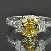 SALE 3.94 Carat Fancy Deep Yellow Diamond Ring / 3 Carat Center / GIA