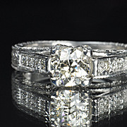 SALE 1.35 Carat Old European Diamond Solitaire / .89 Center / EGL Cert.