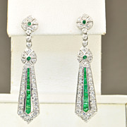 SALE 2.04 Art Deco Style Diamond and Emerald Dangle Earrings