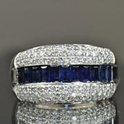 SALE 2.25 Carat Diamond and Sapphire Band