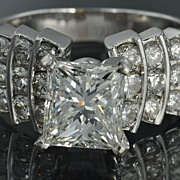 SALE 2.75 Carat  F/VS1  Princess  Cut   Diamond   Ring