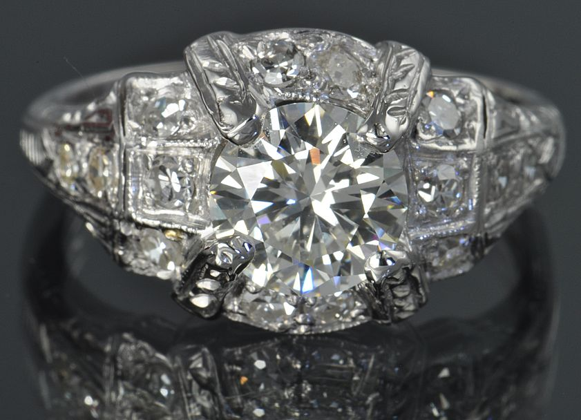 1.47 Carat Deco Style Diamond Ring