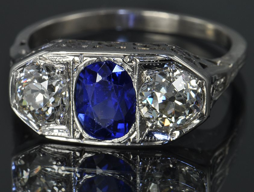 1.75 Carat Diamond and Sapphire Victorian Ring